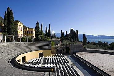 Open-air theater on the Vittoriale degli Italiani site, the shrine of Italian victories, built as an Italian victory monument, property of the Italian poet Gabriele D'Annunzio, Gardone Riviera, Lake Garda, Italy, Europe
