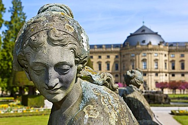 Court Gardens, Wuerzburg Residenz, a Baroque palace, UNESCO World Heritage Site, Wuerzburg, Bavaria, Germany, Europe