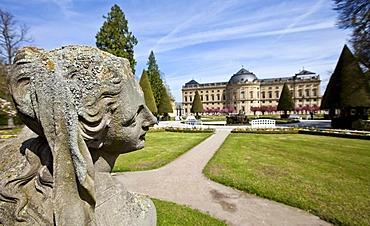 Court Gardens, Wuerzburg Residenz, a Baroque palace, UNESCO World Heritage Site, Wuerzburg, Bavaria, Germany, Europe