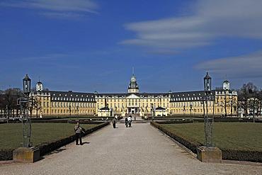 The Karlsruhe Schloss castle, built in 1715 as the residence of the Margrave Karl Wilhelm of Baden-Durlach, Schlossplatz square, Karlsruhe Baden-Wuerttemberg, Germany, Europe