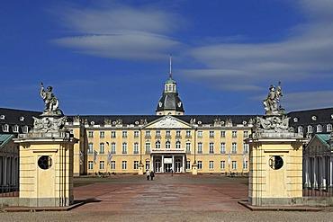 Entrance facade of Schloss Karlsruhe palace, 1715, with Schlossplatz square, Karlsruhe, Baden-Wuerttemberg, Germany, Europe