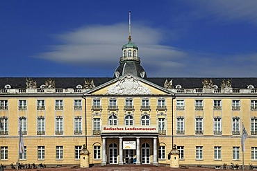 Detail of the entrance facade of Schloss Karlsruhe palace, 1715, with Schlossplatz square, Karlsruhe, Baden-Wuerttemberg, Germany, Europe