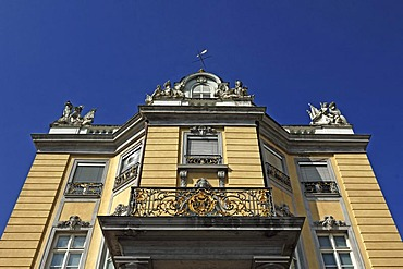Detail of the side wing with a balcony of Schloss Karlsruhe palace, 1715, Schlossplatz, Karlsruhe, Baden-Wuerttemberg, Germany, Europe