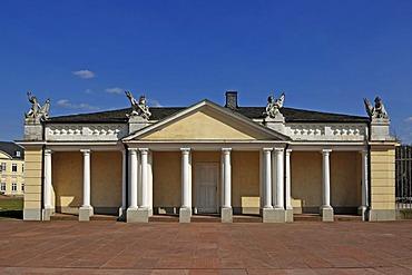 "The so-called ""Schloessle"" building in front of the Schloss Karlsruhe castle, built in 1715, Schlossplatz, Karlsruhe, Baden-Wuerttemberg, Germany, Europe"