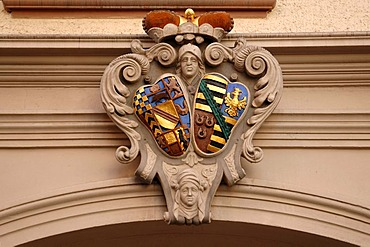 Alliance crest of Baden and Saxony-Lauenburg on a building, Baden-Baden, Baden-Wuerttemberg, Germany, Europe