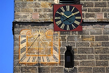 Belfry of the St. Kunigund church, detail with tower clock and sundial, Schnaittach, Middle Franconia, Bavaria, Germany, Europe