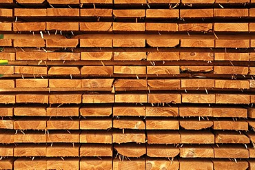Stacked boards, Othenstorf, Mecklenburg-Western Pomerania, Germany, Europe