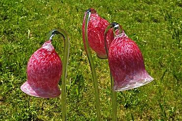Glass objects by Peter Kaspar at the State Garden Show 2010, Schonfeld Strasse 17, Rosenheim, Upper Bavaria, Bavaria, Germany, Europe