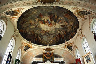 Ceiling painting by Matthaeus Guenther and baroque organ of the parish church of St. Peter and Paul, baroque style from 1740, Matthias-Klotz-Strasse 4, Mittenwald, Upper Bavaria, Bavaria, Germany, Europe