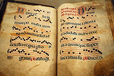 Pages from a choir book from, southern Germany, 17th century, Geigenbaumuseum violin museum, Ballenhausgasse 3, Mittenwald, Upper Bavaria, Bavaria, Germany, Europe
