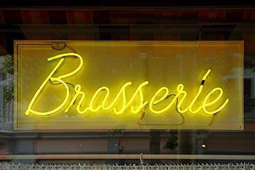 Brasserie, yellow neon sign, Rue de L'Enceinte, Colmar, Alsace, France, Europe