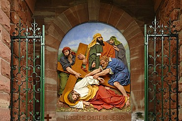 Ninth relief, Stations of the Cross to Dusenbach monastery, Jesus falling for a third time under the weight of the cross, Ribeauville, Alsace, France, Europe