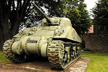 French tank memorial, Renard from World War II, 1944, in front of the city wall, Route du Vin, Kientzheim, Alsace, France, Europe