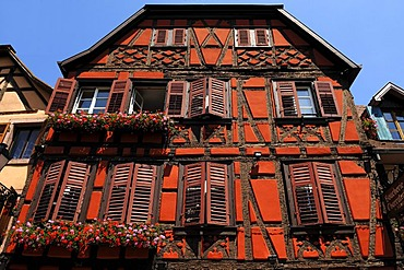 Old Alsatian half-timbered facade, 78 Grand'Rue, Ribeauville, Alsace, France, Europe