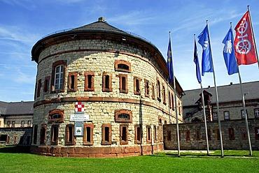 Reduit, part of the mediaeval fort in Mainz-Kastel district, Wiesbaden, Hesse, Germany, Europe