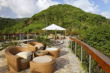 Roof terrace, Dedon, furniture, natural stone floor, hemisphere, rain forrest, unique, Jade Mountain luxury hotel, Saint Lucia, Windward Islands, Lesser Antilles, Caribbean, Caribbean Sea
