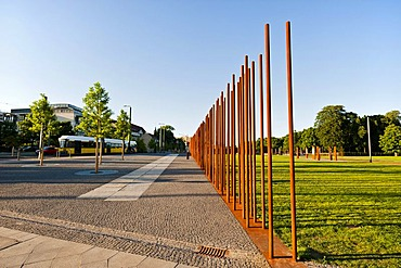 Marking the course of the Wall at the Berlin Wall Memorial in Bernauer Strasse, Berlin, Germany, Europe