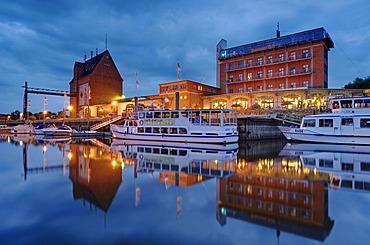 Granary and Doemitzer Hafen Hotel, Doemitz, Mecklenburg-Western Pomerania, Germany, Europe