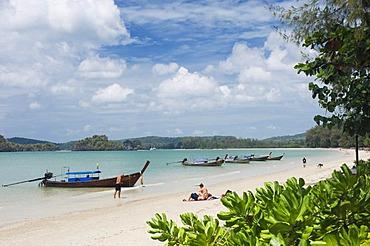 Long-tail boats on the beach, Nopparat Thara Beach, Krabi, Thailand, Southeast Asia, Asia