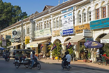 Colonial house in the old market, Old Market, Psar Chas, Siem Reap, Cambodia, Indochina, Southeast Asia, Asia