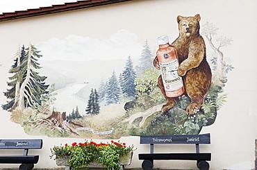 Mural, Baerwurz, herbal liqueur, Zwiesel, Bavarian Forest National Park, Lower Bavaria, Germany, Europe