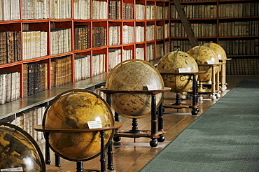 Globes and very old books, library, hall of theology, Strahov Monastery, Hrad&any, Castle District, Prague, Czech Republic, Europe