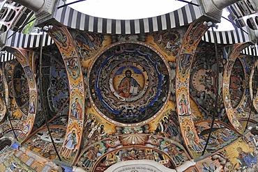 Ceiling painting, fisheye, monastery church Sweta Bogorodiza, Orthodox Rila Monastery, UNESCO World Heritage Site, Bulgaria, Europe