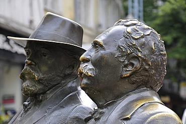 Two heads, sculpture, Slaveikov Square, Sofia, Bulgaria, Europe