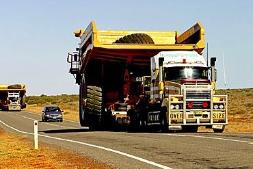 2 Haulpak Dump Trucks being transported by road, Northwest Australia