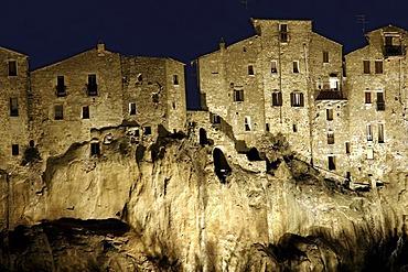 Village of Pitigliano at night, Tuscany, Italy, Europe