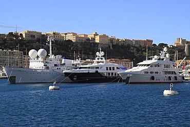 Motoryachts Capella C, Oxygen, and Milk and Honey in the Port Hercule, Monaco, Cote d'Azur, Mediterranean, Europe