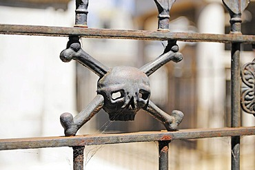 Fence decorated with skull and crossbones, La Recoleta Cemetery, Buenos Aires, Argentina, South America