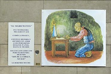 Praying man, painting, Basilica Nacional Nuestra Senora de Lujan, Argentina, South America
