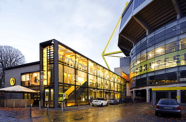 BVB fan shop at the Westfalenstadion stadium, Signal-Iduna-Park, Borussia Dortmund, Dortmund, Ruhrgebiet region, North Rhine-Westphalia, Germany, Europe