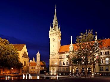 Town hall, Dankwarderode castle and Brunswick Cathedral, St. Blasii, Braunschweig, Brunswick, Lower Saxony, Germany Europe