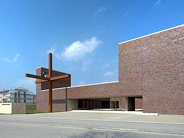 Pfarrzentrum St. Nikolaus parish center, front, modern religious architecture, architect Prof. Andreas Meck, Neuried, Munich, Bavaria, Germany, Europe
