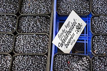 Fresh wild blueberries, stall on the Viktualienmarkt food market, Munich, Bavaria, Germany, Europe