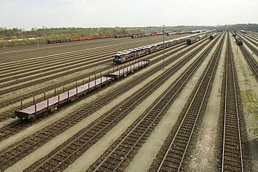 Railway tracks, car transportation with special wagons