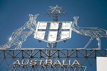 Australian landmark with kangaroo and emu on the new Parliament House in Canberra, Australian Capital Territory, Australia