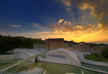 Hydroelectric power station at dusk, Kempten, Bavaria, Germany, Europe