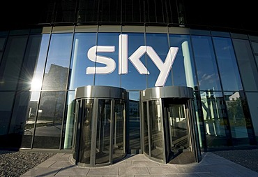 Entrance of the new Sky Deutschland AG, Medienallee 26, Unterfoehring, Bavaria, Germany, Europe