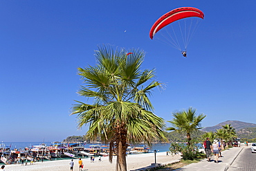 Paraglider, Oludeniz or Olu Deniz Bay near Fethiye, west coast, Turkey, Asia