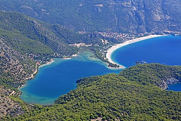 Aerial view, Oeluedeniz Bay near Fethiye, west coast of Turkey, Asia