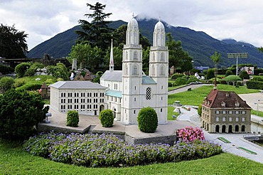 Grossmuenster and Water Church in miniature, Swissminiatur, Melide, Lugano, Ticino, Switzerland, Europe