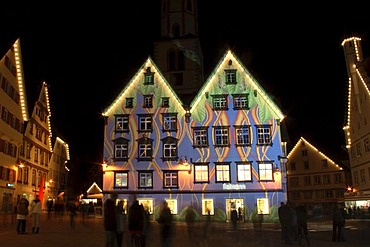 Facades with impressive lighting, at the market square in Biberach an der Riss, Biberach, Upper Swabia, Baden-Wuerttemberg, Germany, Europe