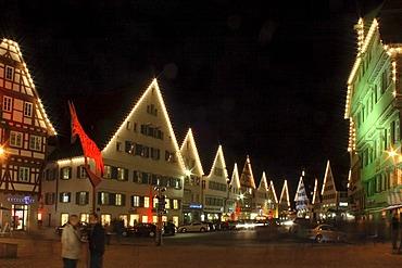 Illuminated facades, long exposure, market square in Biberach, Biberach, Upper Swabia, Baden-Wuerttemberg, Germany, Europe