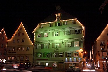 Facades with impressive lighting, market square in Biberach an der Riss, Upper Swabia, Baden-Wuerttemberg, Germany, Europe