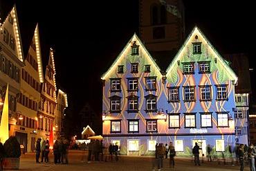 Illuminated facades, light show, market square in Biberach, Upper Swabia, Baden-Wuerttemberg, Germany, Europe