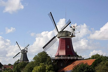 Twin windmills of Greetsiel, two-story gallery Dutchman windmills from the 18th and 19th Century, Greetsiel, East Frisia, Lower Saxony, Germany, Europe