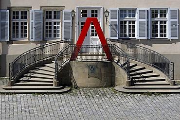 Staircase to the Academy, Schloss Solitude Castle, Stuttgart-West, Stuttgart, Upper Swabia, Baden-Wuerttemberg, Germany, Europe
